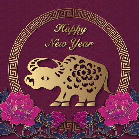 2021 Happy Chinese new year of ox golden purple relief peony flower Zodiac sign rat and lattice frame. 写真素材 - 158428208