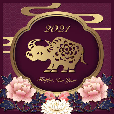 2021 Happy Chinese new year of ox golden purple reliefpeony flower lantern window frame  イラスト・ベクター素材