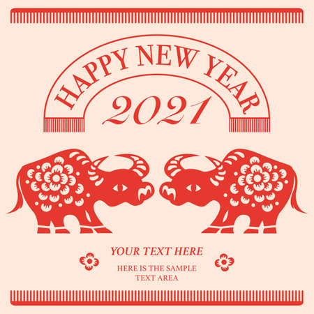 2021 Happy Chinese new year of the ox. Flat style design for holiday decoration template.