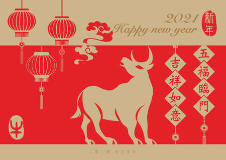 2021 Happy Chinese new year of ox and spring couplet lantern decoration. Chinese Translation: New year. May fortune come to your door. Good luck and happiness to you.