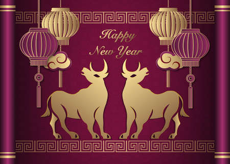 2021 Happy Chinese new year of ox golden purple reliefpeony flower lantern cloud and lattice frame on a vintage scroll.