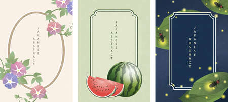 Oriental Japanese style abstract pattern background frame design summer nature objects morning glory flower watermelon and glowworm firefly 일러스트