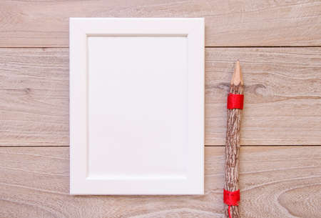 Nature garden retro wood vintage table white frame mock up pencil 写真素材