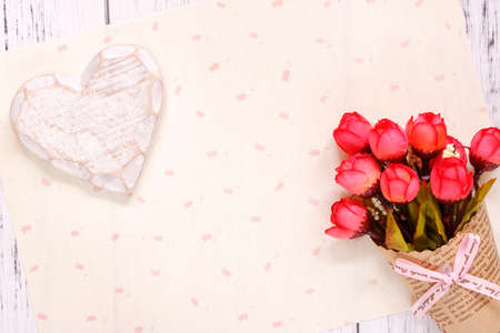 Stock photography flat lay text letter rose flower wood heart craft