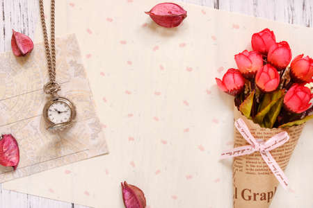 Stock photography flat lay text letter envelope rose flower petals pocket clock 写真素材