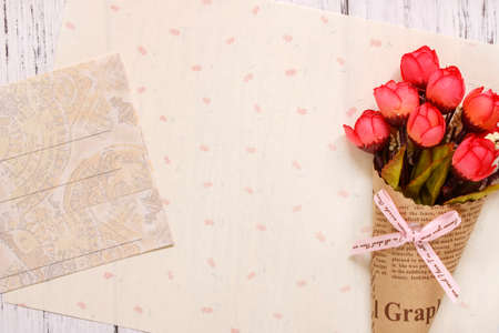 Stock photography flat lay text letter envelope rose flower