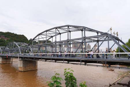 Zhongshan Bridge by the Yellow River in Lanzhou Gansu China