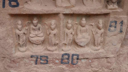 Buddhist grottoes sculpture in Bingling Temple Lanzhou Gansu, China.