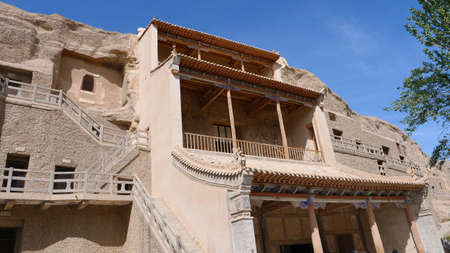Ancient Buddhism architecture Dunhuang Mogao Grottoes in Gansu China Imagens
