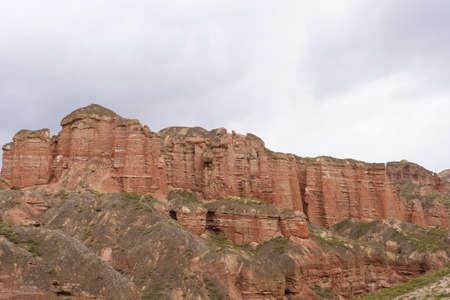 Beautiful landscape view of Binggou Danxia Scenic Area in Sunan Zhangye Gansu Province, China. 免版税图像