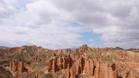 Beautiful landscape view of Binggou Danxia Scenic Area in Sunan Zhangye Gansu Province, China. Imagens