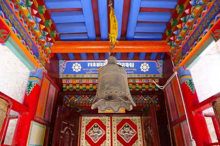 Beautiful painting interior in Tibetan Buddhist monastery Arou Da Temple in Qinghai China.