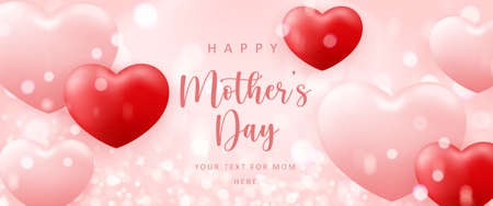 Happy mother's day cute pink love heart shape balloon with shining bokeh background