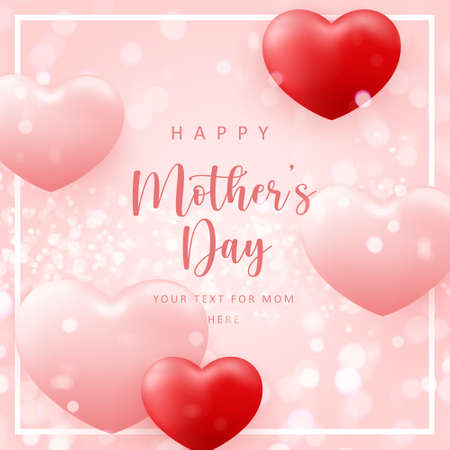 Happy mother's day cute pink love heart shpae balloon with shining bokeh background 向量圖像