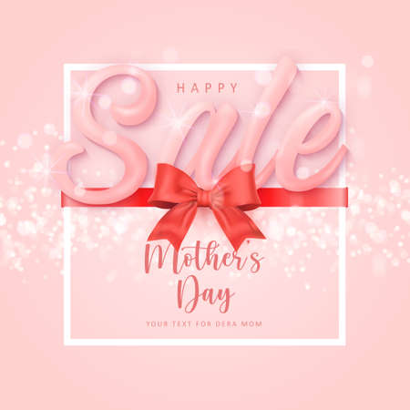 Happy mother's sale banner day cute red ribbon with shining bokeh background