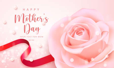 Happy mother's banner day pink elegant rose flower red ribbon and pearl with shining bokeh background