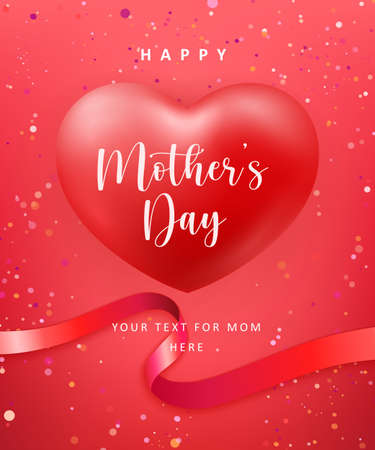 Happy mother's day cute red love heart shape balloon and ribbon with dot decoration background
