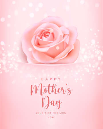 Happy mother's banner day pink elegant rose flower pearl with shining bokeh background