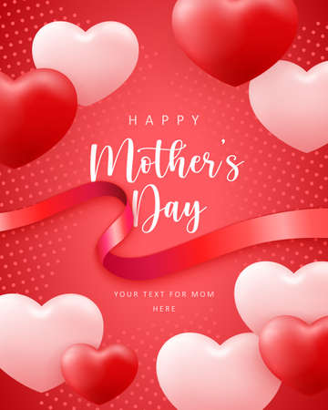 Happy mother's day cute pink red love heart shape balloon and ribbon with dot decoration background 向量圖像