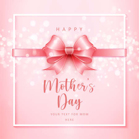Happy mother's cute pink ribbon with shining bokeh background