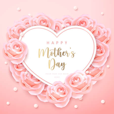 Happy mother's day heart shape card banner pink elegant rose flower ring and pearl with girlish pink gradient background. 向量圖像