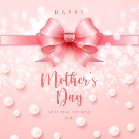 Happy mother's cute pink ribbon with shining bokeh background and elegant pearls