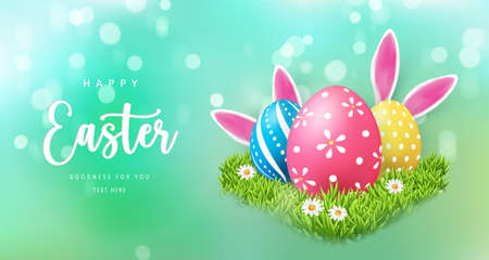 Happy Easter banner template with Easter eggs and green grass daisy flower rabbit ear 向量圖像