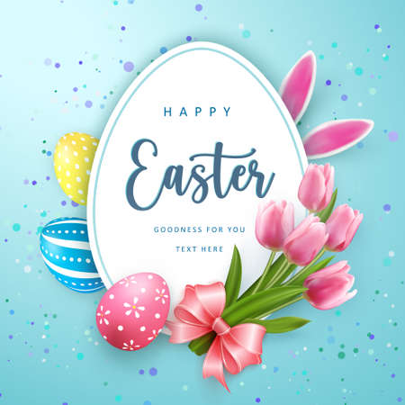 Happy Easter banner template with Easter eggs and tulip flower pink ribbon rabbit ear