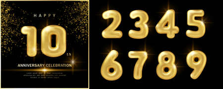 Happy year anniversary celebration luxury golden balloon number decoration with black dark background 일러스트
