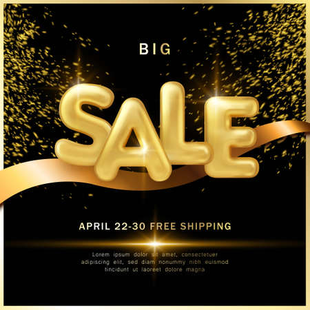 Big sale promotion marketing template luxury golden balloon text and ribbon decoration with black dark background