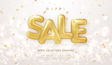 Happy sale promotion marketing template luxury golden balloon text with shinning bokeh background 일러스트