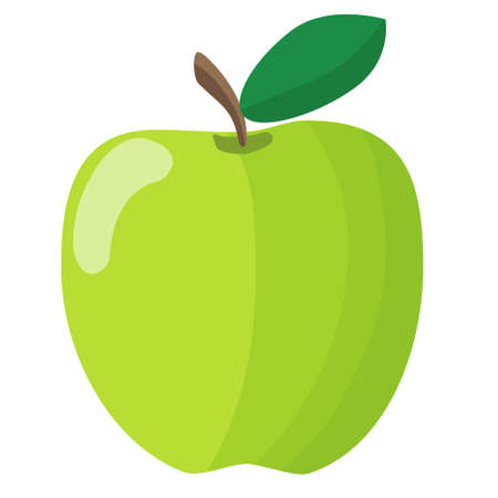 Vector isolated object illustration fruit green apple