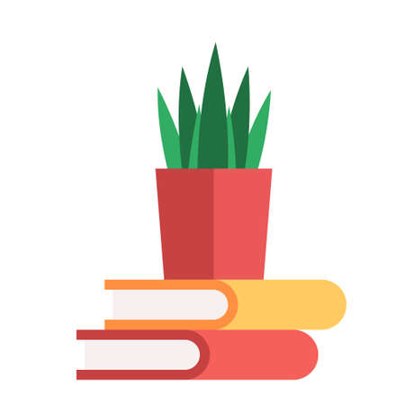 Cartoon isolated object book and plant pot  イラスト・ベクター素材