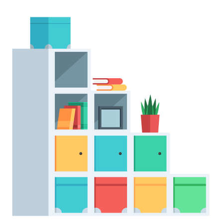 Cartoon isolated object furniture grid Cabinet