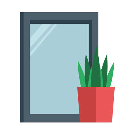 Cartoon isolated object picture frame and plant pot  イラスト・ベクター素材