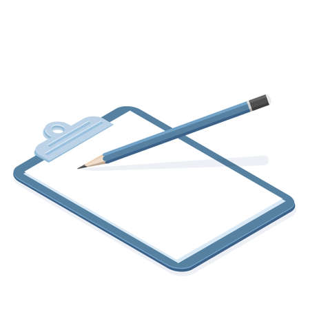 Cartoon isolated object paper document clipboard and pencil