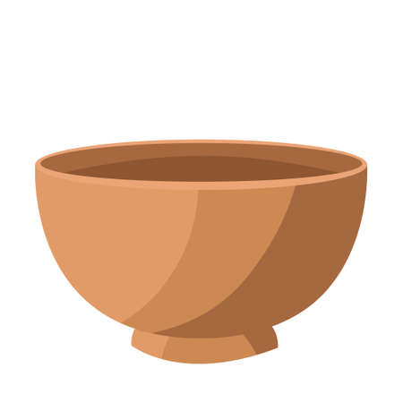 Isolated spa therapy treatment object illustration wooden bowl