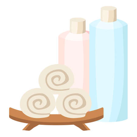 Isolated spa therapy treatment object illustration bottle and rolled tower