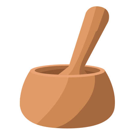 Isolated spa therapy treatment object illustration wooden mortar  イラスト・ベクター素材