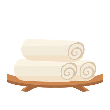 Isolated spa therapy treatment object illustration wood plate and rolled tower  イラスト・ベクター素材