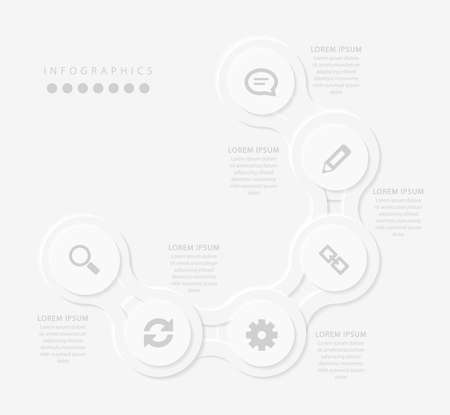 Vector elegant simple refined style infographic design UI template spiral round cross labels and icons. Ideal for business concept presentation banner workflow layout and process diagram. Ilustrace