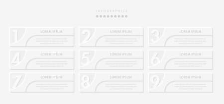 Vector elegant simple refined style infographic design UI template 9 number labels and icons. Ideal for business concept presentation banner workflow layout and process diagram.