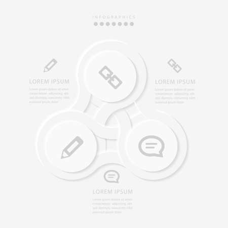 Vector elegant simple refined style infographic design UI template spiral round cross labels and icons. Ideal for business concept presentation banner workflow layout and process diagram. Иллюстрация