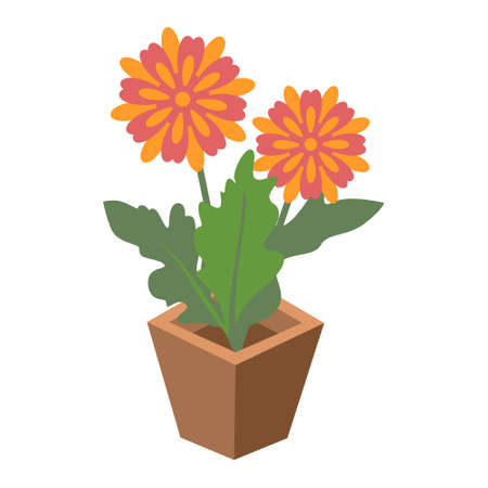 Cartoon vector illustration isolated object botanic garden nature flower pot Иллюстрация