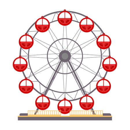 Cartoon vector illustration isolated object amusement park Ferris wheel Иллюстрация
