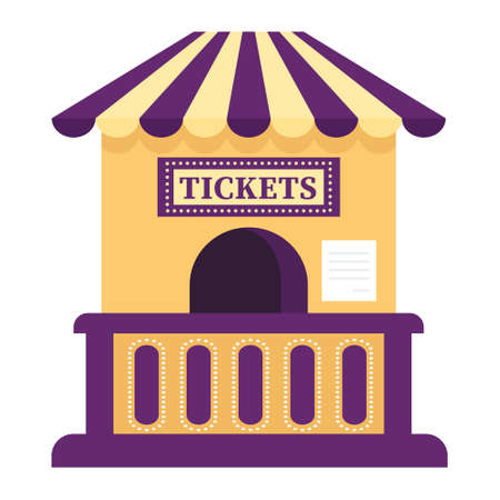 Cartoon vector illustration isolated object ticket window