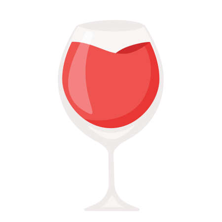 Cartoon vector illustration isolated object red champagne wine glass