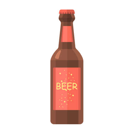 Cartoon vector illustration isolated object drink beer glass bottle