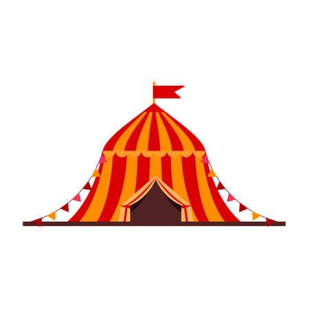 Cartoon vector illustration isolated object amusement park circus tent