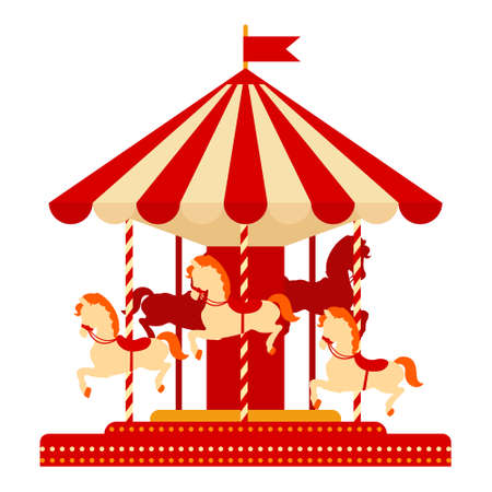Cartoon vector illustration isolated object amusement park Carousel